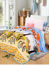 Maple Bicycle Print Super Soft Bedding Comfortable Throw Blanket - YELLOW