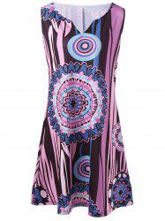 Funny Printed Sleeveless Plus Size Mini Dress