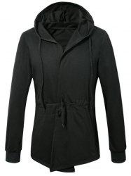 Drawstring Placket Hooded Coat