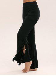 Tassel Side Slit High Waist Flare Pants