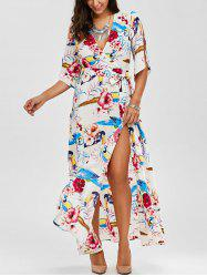 Flower Belted Surplice Maxi Dress with High Slit