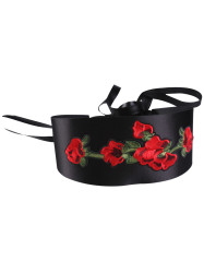 Retro Chinoiserie Flowers Embroidery Corset Belt - BLACK