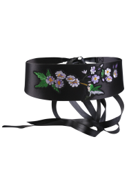 Wide Bird Floral Shrub Embroidered Corset Belt - BLACK
