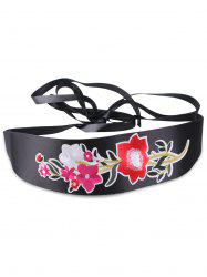 Chinoiserie Floral Broderie Wide Corset Belt - Rouge Clair