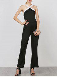 Backless Cross Neck Long Jumpsuit