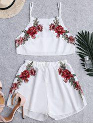 Floral Patched High Waist Cami Suits - WHITE