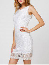 V Back Short Cocktail Lace Sheath Dress - WHITE