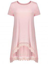 Short Sleeve Lace Panel Asymmetrical Tee