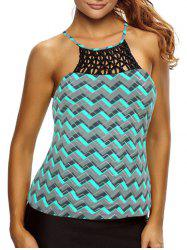 Cross Back High Neck Zigzag Tankini Top - GREEN M