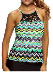 Cross Back High Neck Zigzag Tankini Top - COLORMIX S