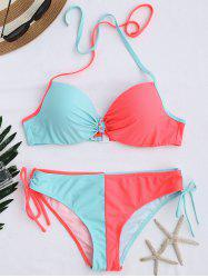 Color Block String Halter Underwire Bikini Set