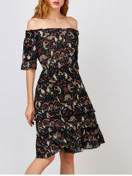 Off The Shoulder Layer Floral Print Dress