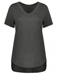 Plus Size Short Sleeve V Neck Tee