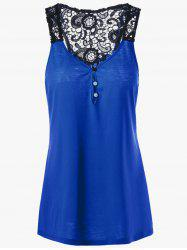 Button Lace Back Racerback Tank Top - BLUE