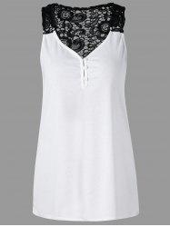 Button Lace Panel Racerback Tank Top