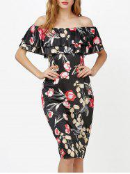 Knee Length Floral Off Shoulder Ruffles Dress - BLACK XL