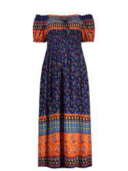 Elastic Chest Puff Sleeve Print Midi Dress - DEEP BLUE
