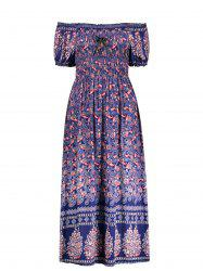 Elastic Chest Puff Sleeve Paisley Midi Dress