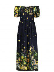 Puff Sleeve Elastic Chest Flower Midi Dress - BLACK
