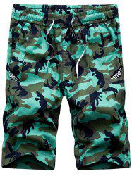 Drawstring Waist Straight Leg Camo Shorts - GREEN
