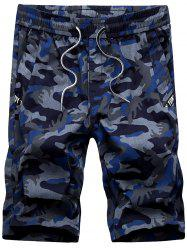 Drawstring Waist Straight Leg Camo Shorts - BLUE
