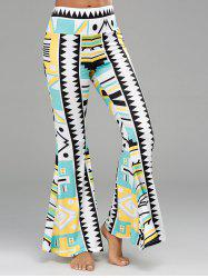 Geometric Print Long Palazzo Flare Pants - COLORMIX
