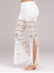 See Through Side Slit Lace Pants - WHITE