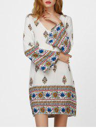 Flare Sleeve Drawstring Print Dress with Tassel