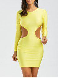 Backless Cut Out Long Sleeve Bodycon Club Dress