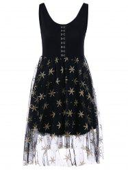 Sleeveless Voile Panel Glitter Cocktail Dress