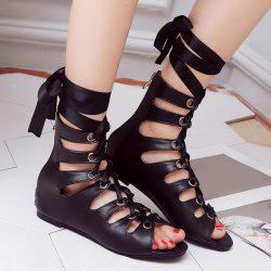 Zipper Ribbon Faux Leather Sandals