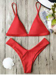 Spaghetti Straps Soft Pad Thong Bikini Set - RED