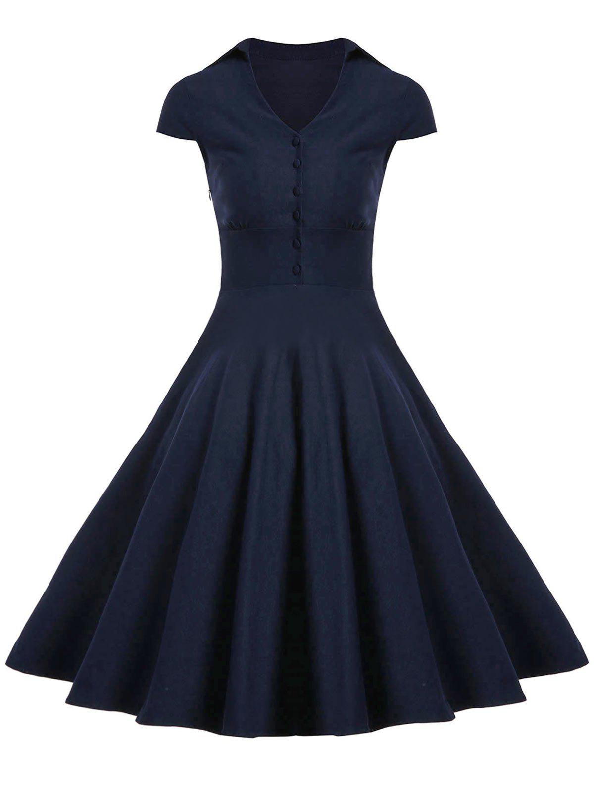Cheap A Line Buttoned Vintage Corset Dress with Sleeves