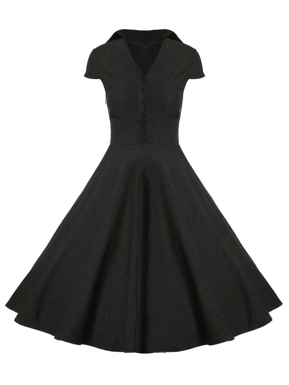 Online A Line Buttoned Vintage Corset Dress with Sleeves