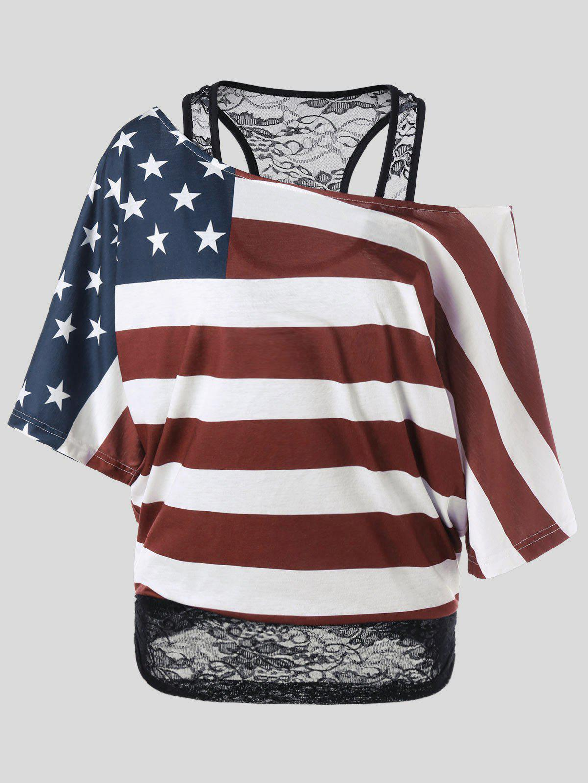 Buy Skew Collar American Flag Plus Size T-Shirt