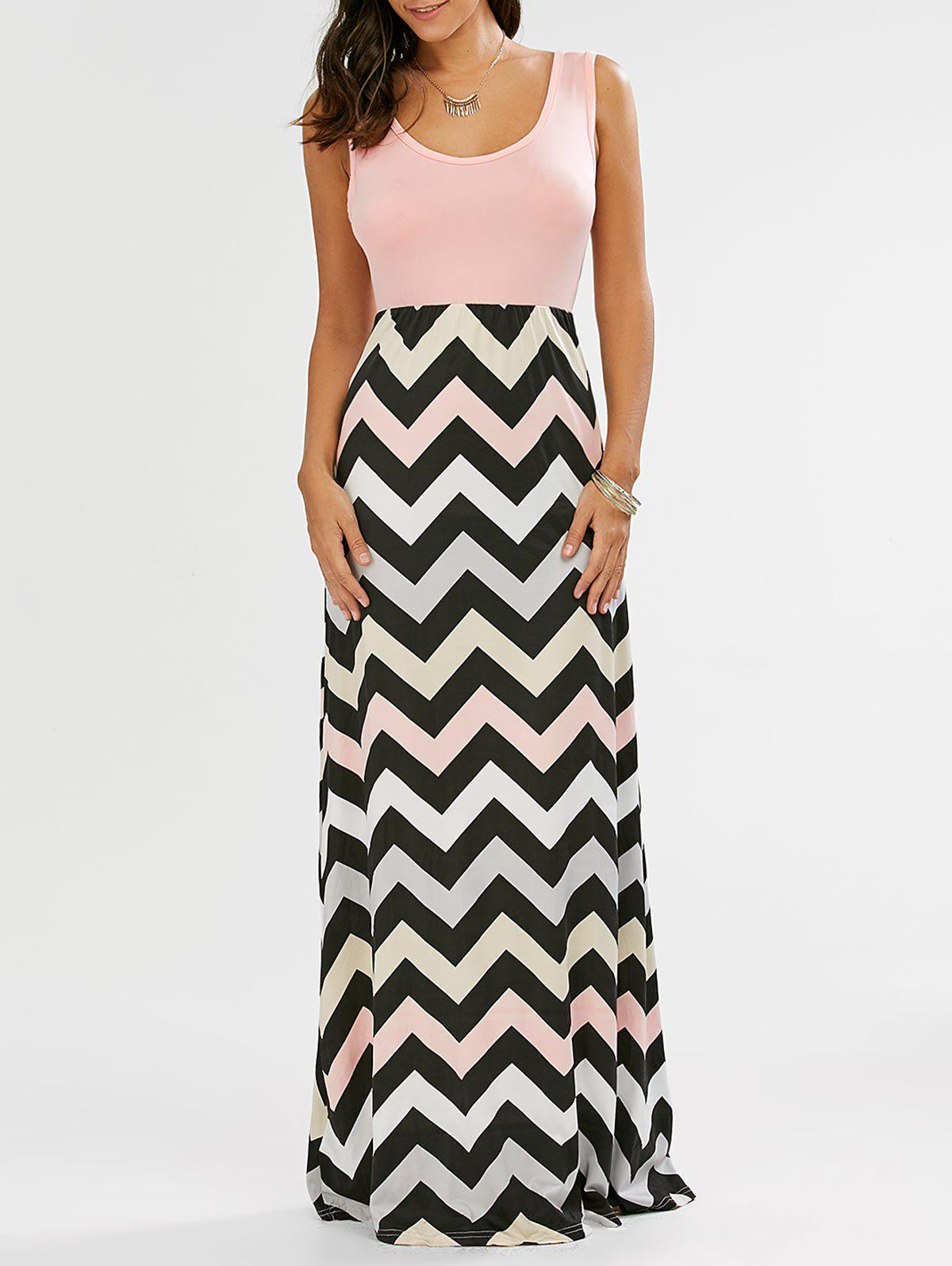 Unique Sleeveless Maxi Chevron Tank A Line Dress