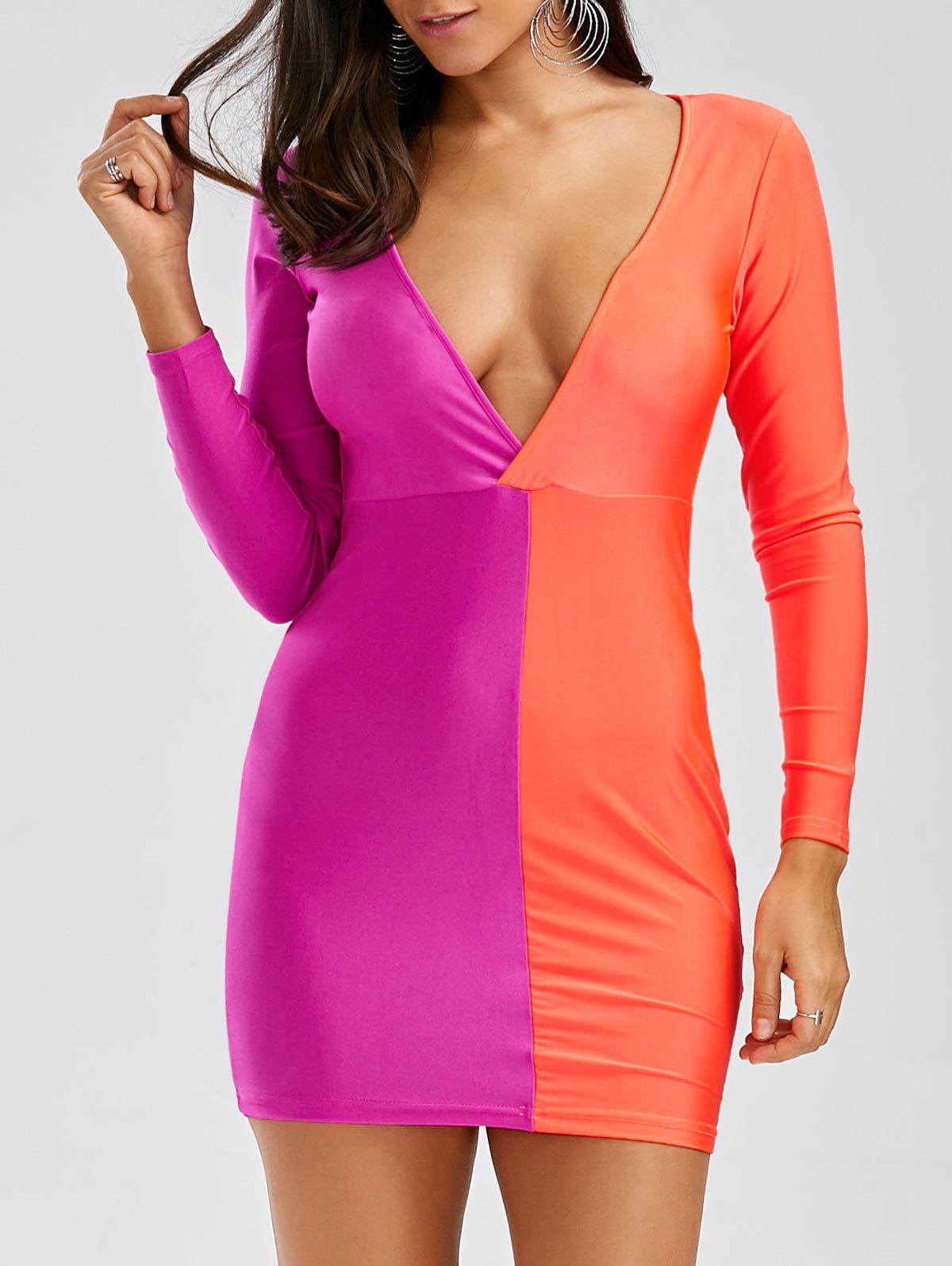 Chic Contrast Plunge Cut Out Dress