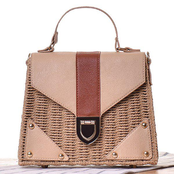 Shops Leather Panel Straw Handbag