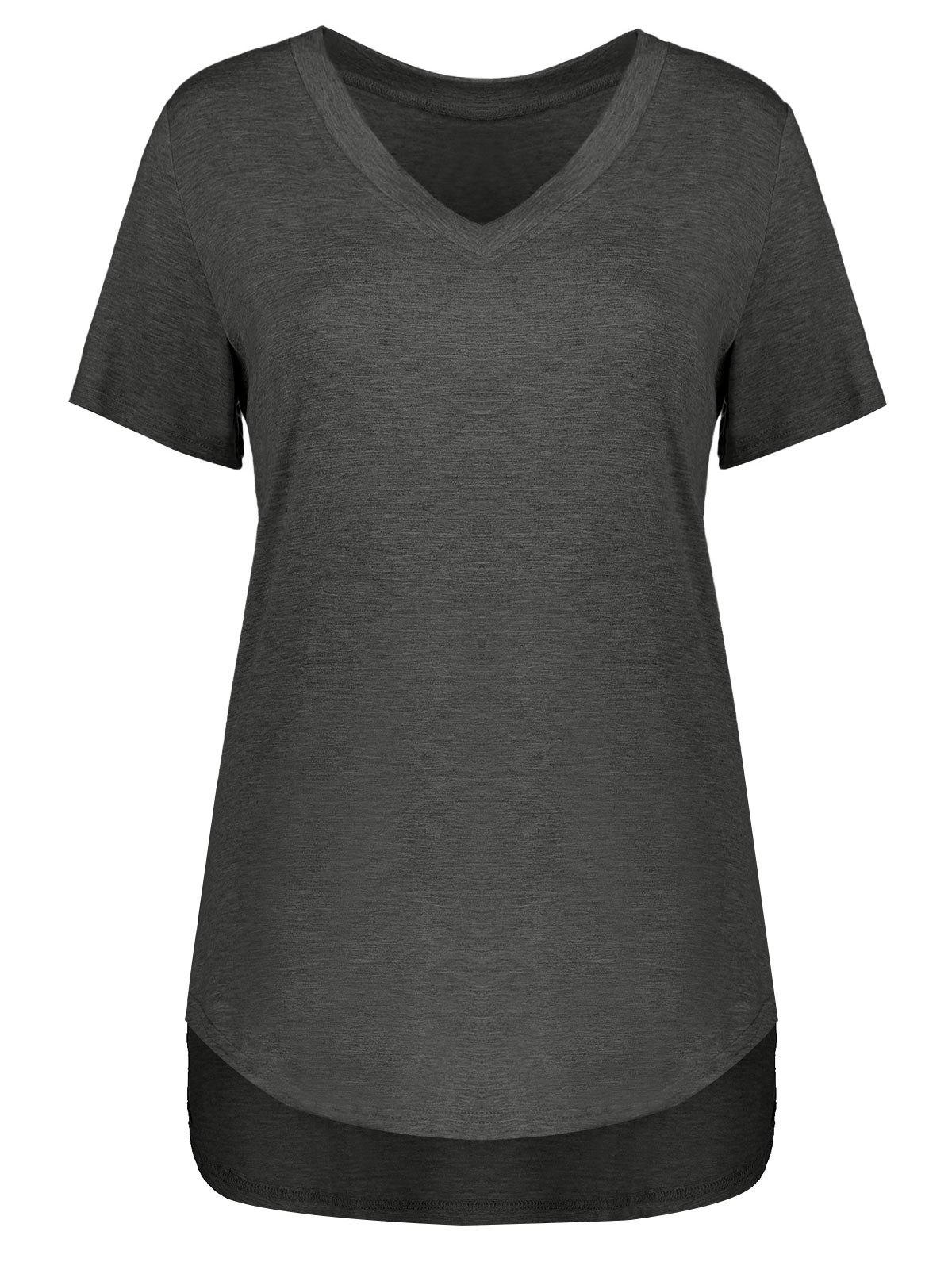 Cheap Plus Size Short Sleeve V Neck Tee