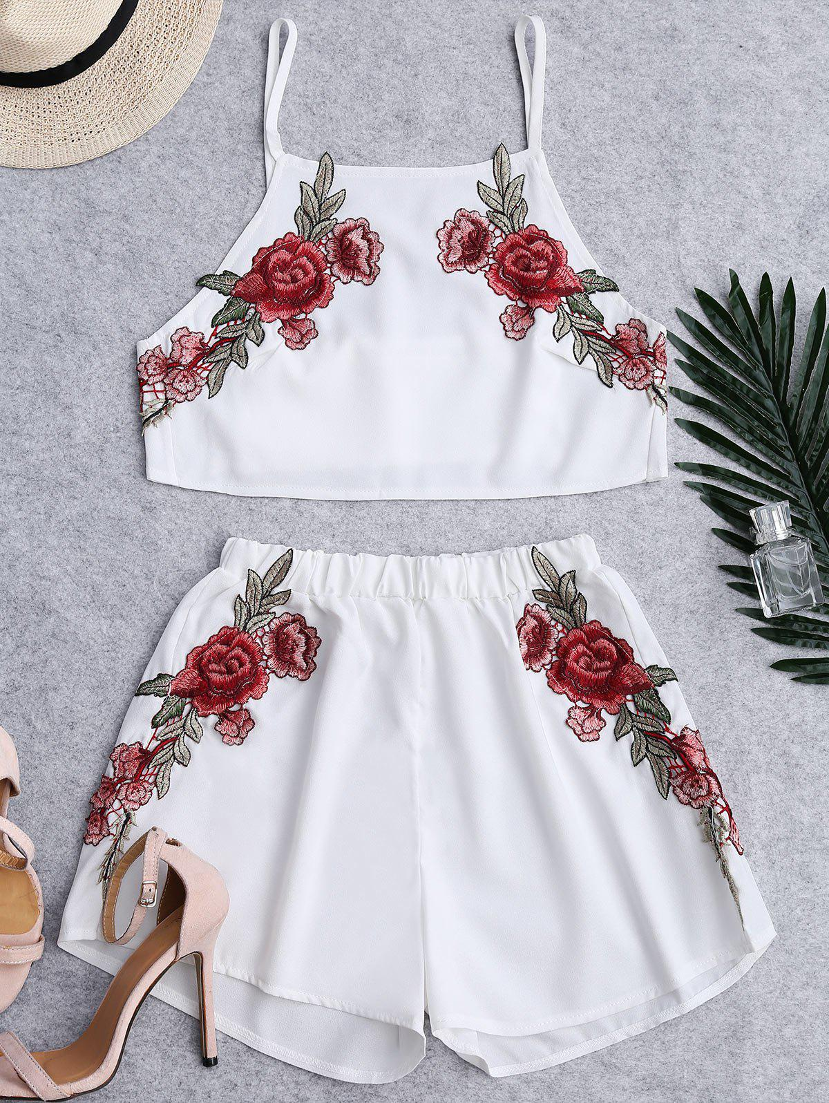 Hot Floral Patched High Waist Cami Suits