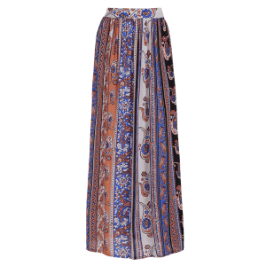 Bohemian Paisley Pattern High Slit Maxi Skirt - COLORMIX XL