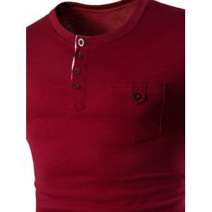 Pocket Design Button T Shirt - WINE RED 2XL