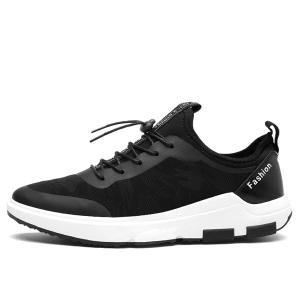 Faux Leather Printed Athletic Shoes - BLACK 40