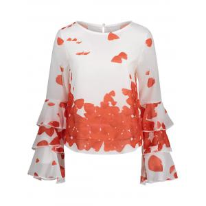 Bell Sleeve Layer Printed Blouse - Jacinth - S