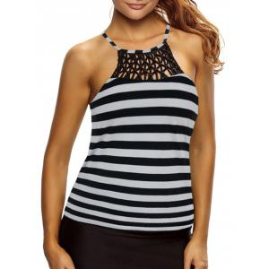 Cross Back Striped Tankini Top