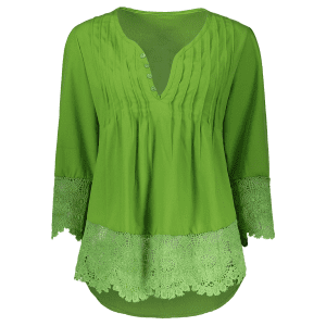 V Neck Lace Panel Tunic Blouse - GREEN L