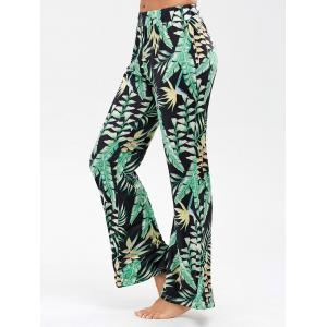 Palm Leaf Print Flowy Palazzo Pants - Black - 2xl
