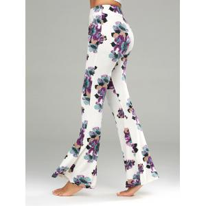 Floral Print Casual Flare Pants - White - 2xl