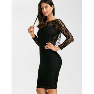 Sexy à manches longues Backless Slimming See-Through Dress - Noir L