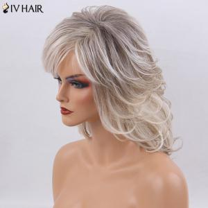 Siv Hair Side Bang Medium Shaggy Natural Straight Colormix Human Hair Wig -